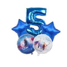 5Pcs Ice Snow Queen Elsa Balloon Princess Foil Balloons Happy Birthday Party Decorations Kids Gifts