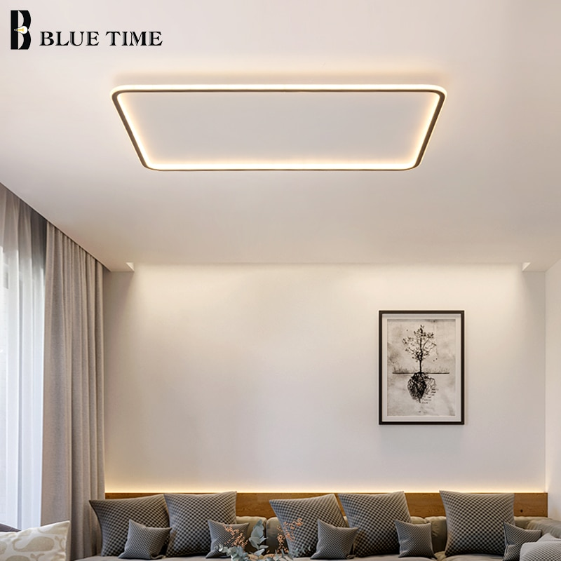 Ultra-delgada cuadrado redondo luces de techo Led modernas para sala de estar dormitorio comedor Control remoto techo Simple lámpara