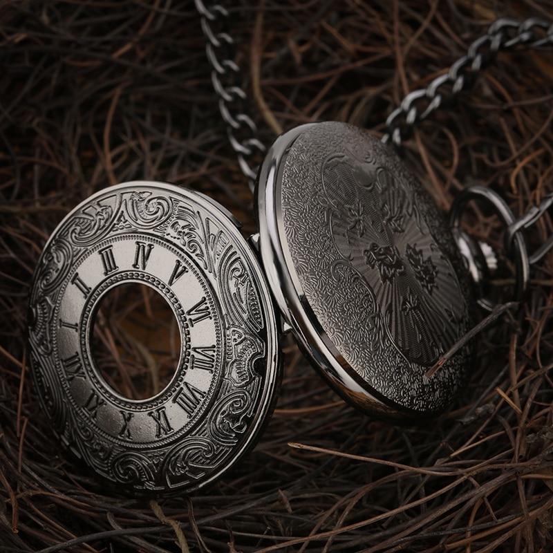 Crni rimski brojevi kvarcni džepni sat muškarci žene crna šuplja - Pocket satovi - Foto 3