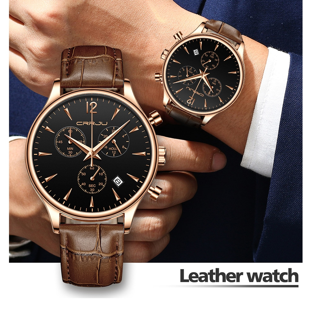 Militar à Prova Relógio para o Homem Pulseira de Couro de Quartzo Relógio Masculino Crrju Dmilitary Água Esportes Relógios Moda Vestido Casual Reloj Hombre