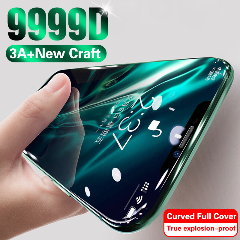 9999D 3A изогнутое стекло для iPhone 11 Pro XS MAX XR X полное покрытие защита экрана закаленное стекло для iPhone 10 7 8 6s Plus пленка