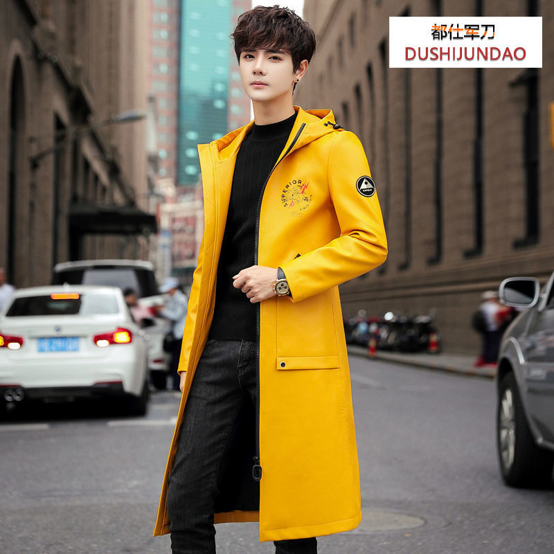 Spring 2021 Leather Men's Korean-Style Mid-Length Slim-Fit Jacket Men's Spring and Autumn Handsome Trendy Casual Anorak