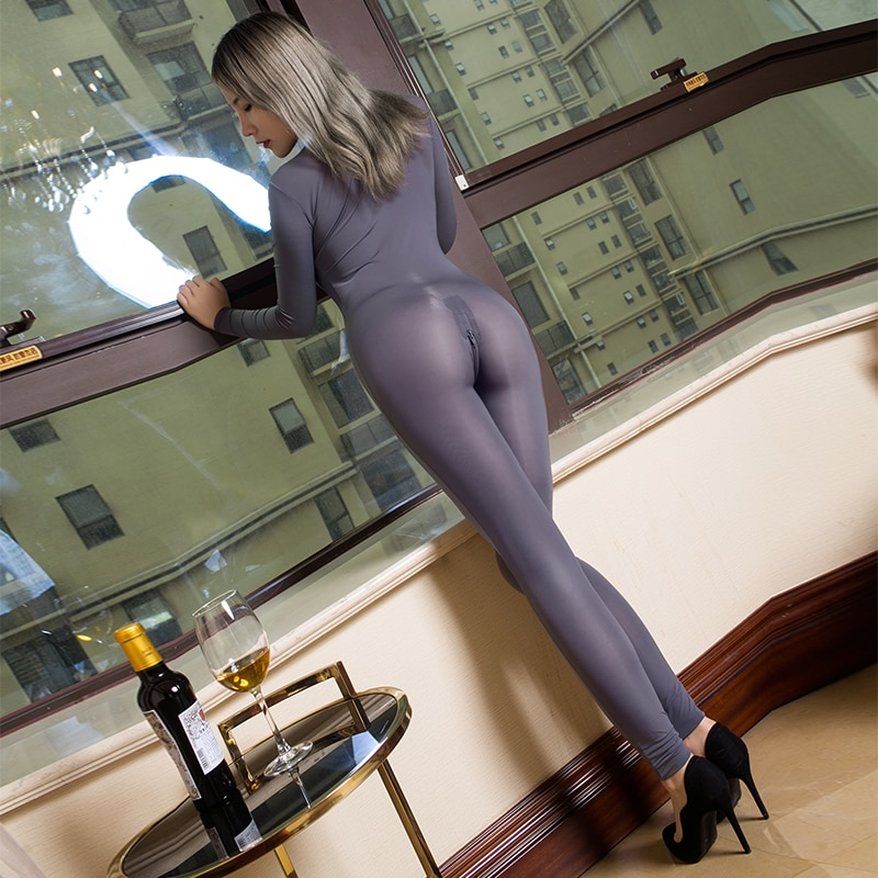 See through Slim Romper Skinny Double Zipper Party Erotic Transparent costumes Sexy Open Crotch Body