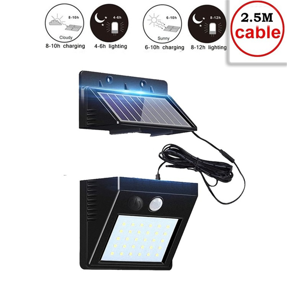 30 светодиодный светильник на солнечной батарее настенный с датчиком движения