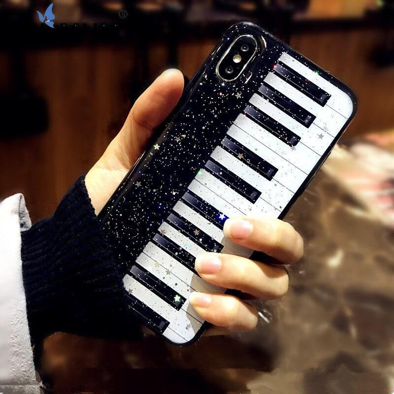 "Funda de teléfono blanda con purpurina en polvo de Piano para IPhone 11 Pro Max 6 6s 7 8 Plus XR XS Max X 2019 6,5 ""funda Bling Coque"