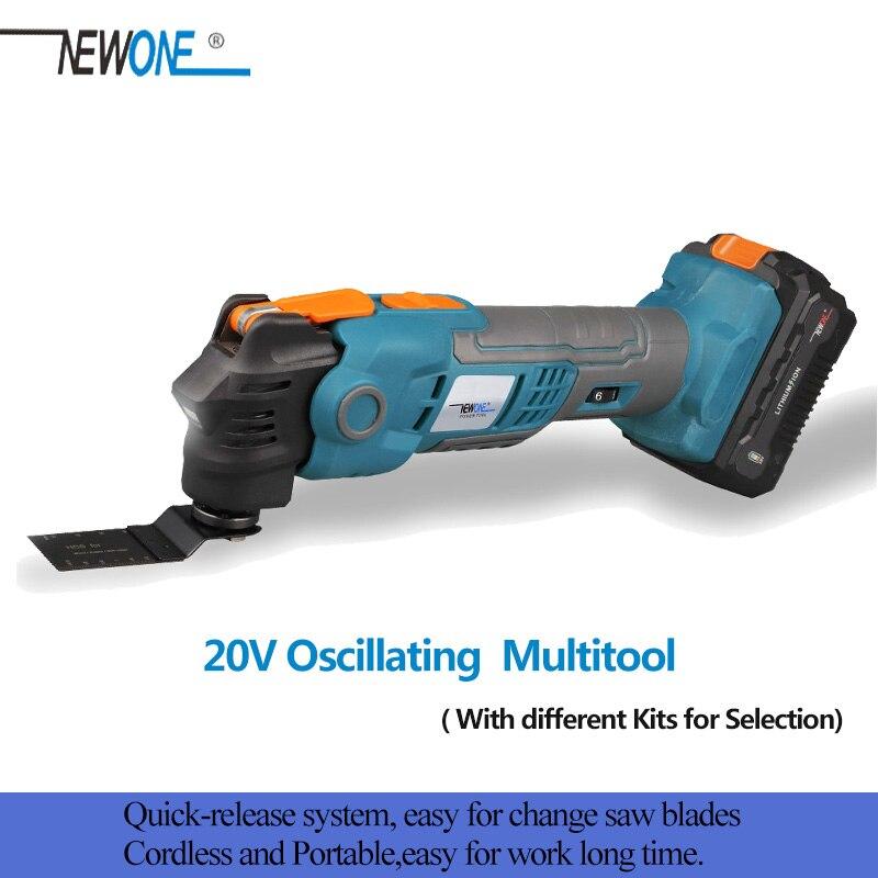 NEWONE 20V Anti-vibración multiherramienta oscilante desenganche rápido renovador sierra eléctrica inalámbrica con hojas de sierra
