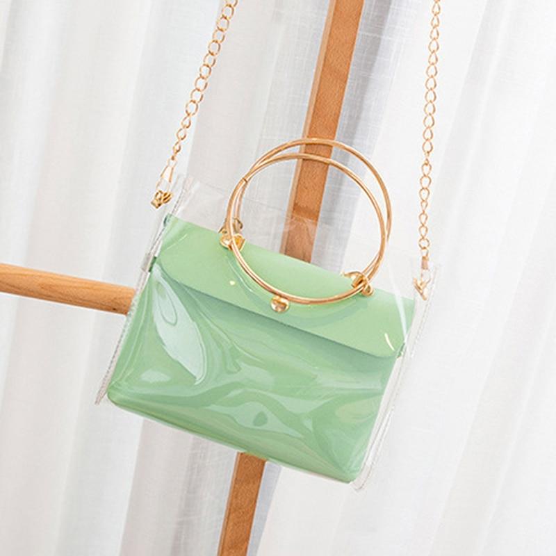 New Women Fashion Transparent Bucket Bag Pvc Jelly Small Shoulder Bag Female Chain Crossbody Messenger Bags
