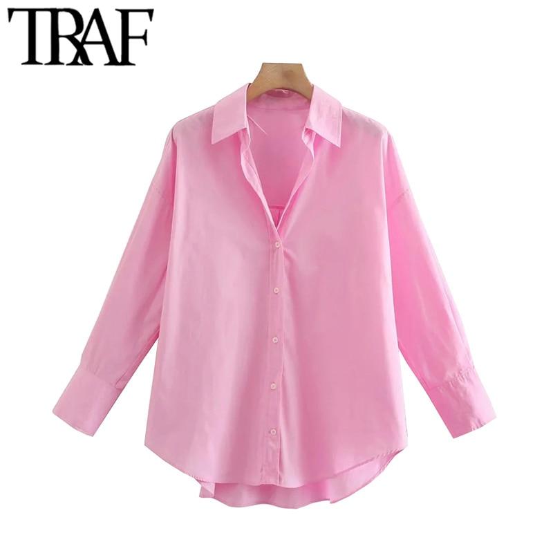 TRAF Women Fashion Loose Asymmetry Poplin Blouses Vintage Long Sleeve Button-up Female Shirts Blusas