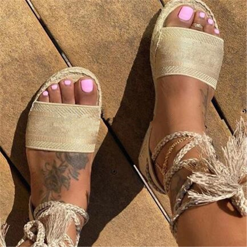 Open Toe Sandals  Luxury Women Espadrilles Zapatos Mujer Female Shoe Ankle Toe Sandals  New Fashion Female Shoes