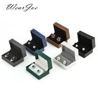 stud hook drop earrings display box leatherette paper velvet jewelry gift pendant necklace presentation storage boxes wholesale