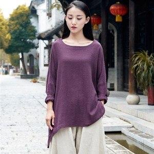 NINI WONDERLAND Women Cotton Linen Loose T Shirt 2021 Spring Batwing Sleeve Casual T Shirt Mori Girl Autumn Big Size Top Clothes