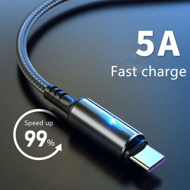 Cable de indicador LED de carga rápida 3A para móvil, Cable Micro...