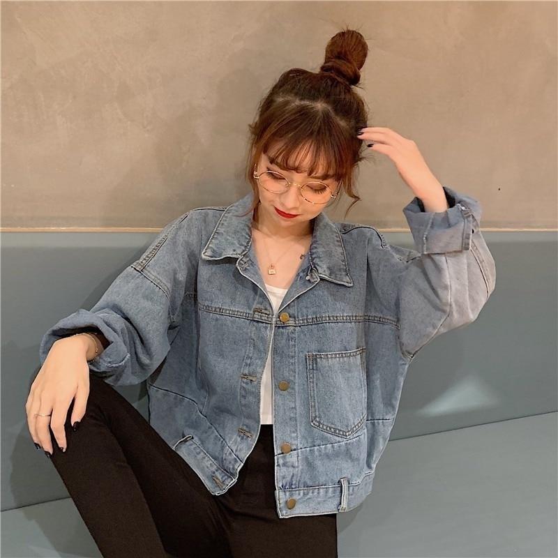 Женская джинсовая куртка, свободная универсальная куртка, однотонная женская куртка с лацканами, осенняя однобортная короткая модная женс...