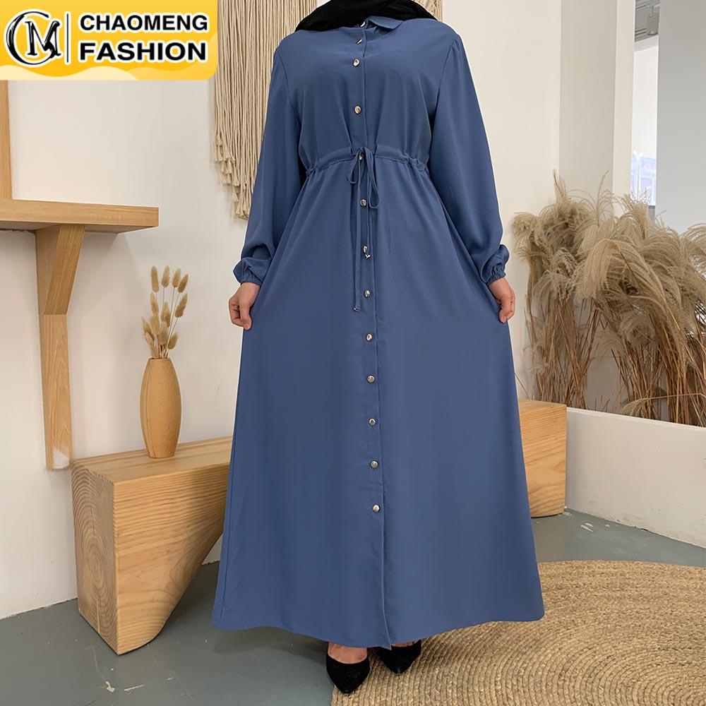 فستان طويل انيق للسيدات المسلمات ، عصري ، لون سادة ، جبهة مفتوحة ، زر ، خصر عالي ، ربطة عنق ، لباس مسلم