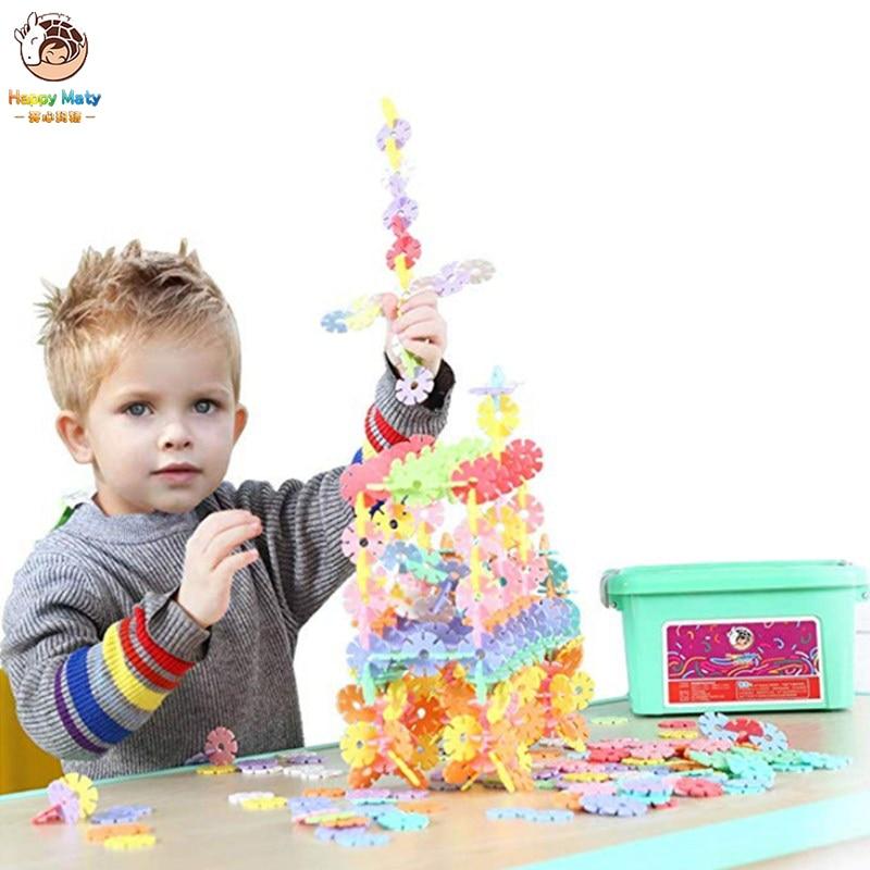 Nuevo Color de macarrón copo de nieve juguete de bloques de construcción DIY Montaje de bloques Juguetes Educativos de aprendizaje preescolar clásicos para niños