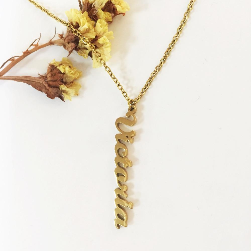 Женское Ожерелье из нержавеющей стали, ожерелье с именем на заказ, ожерелье с надписью, ювелирное ожерелье на заказ, Очаровательное ожерель...
