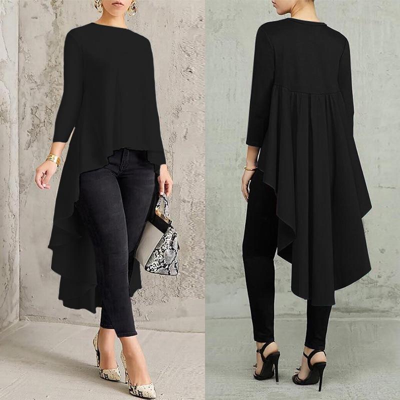 AliExpress - Asymmetrical Tunic Tops Women's Blouse Spring Chemise 2021 ZANZEA Pleated Long Sleeve Shirt Female Swallowtail Blusas Oversized