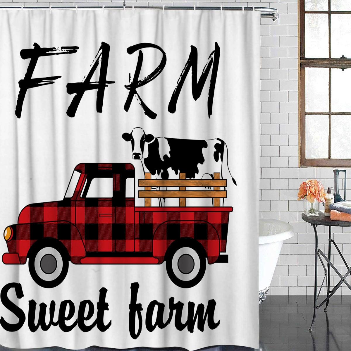 Dulce granja otoño vaca rojo y Hagar camión baño Cortina de ducha