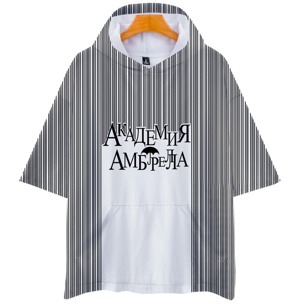 Kawaii Anime Tees The Umbrella 3D impreso Verano de manga corta con capucha camiseta masculina ropa informal estilo Hip Hop deportes Wear chándal Tops