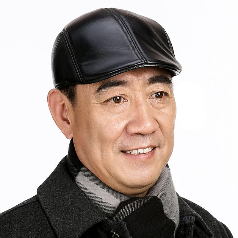 Fashion Sheepskin Hat Genuine Leather Cap Mens Baret Cowhide Flat Cap Cabby Hat Vintage Newsboy Driving Peaked Cap