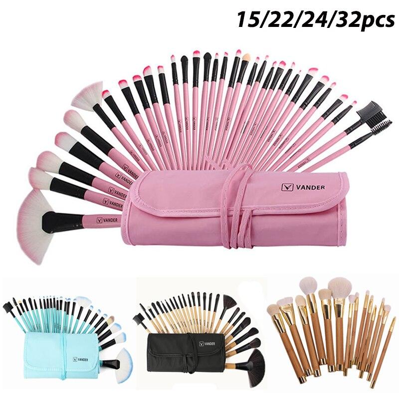 Vanderlife profissional 32 pçs pincéis de maquiagem sombra de olho escova de lábio com saco cabelo sintético pinceaux maquiagem