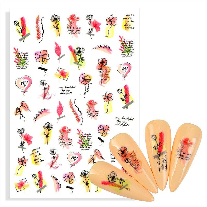 Pegatinas adhesivas para uñas, calcomanías de letras ABC de flor rosa, grafiti...