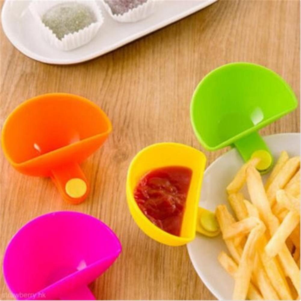 1PC Assorted Dip Clipe Tigela Pires Xícara Pires Xícara de Ketchup Jam Salada Talheres Casa Acessórios de Cozinha Ferramenta Fruta Vegetal