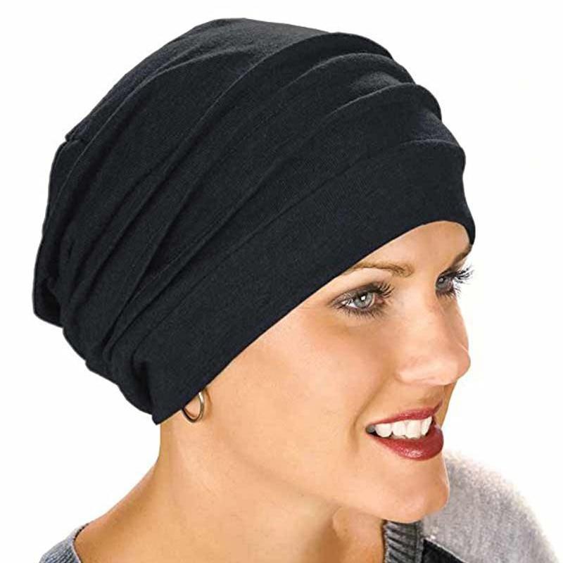 S1 1pcs  New Elastic Cotton Turban Hat Solid Color Women Warm Winter Headscarf Bonnet Inner Hijab Caps  Female Muslim Wrap Head