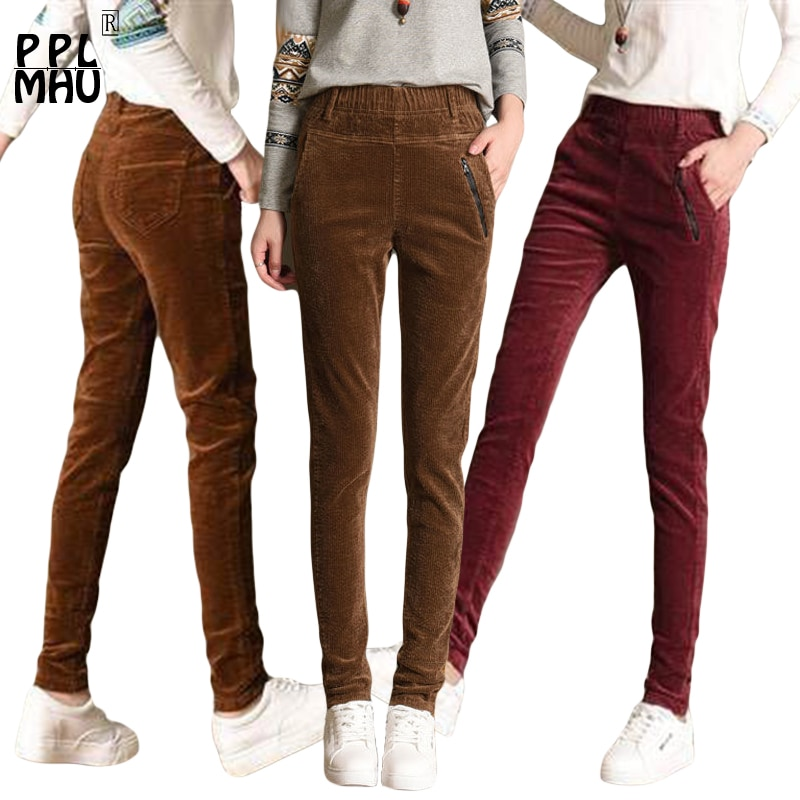 Autumn Winter Corduroy Pants Women Plus Size 3XL Elastic Waist Slim fit Pants Casual Corduroy Trousers Women Pantalon Mujer