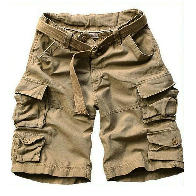 Новинка лета 2021, камуфляжные мужские шорты с несколькими карманами, повседневные свободные камуфляжные мужские шорты до колен с ремнем