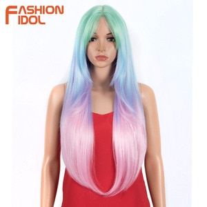 FASHION IDOL Long Straight Wig With Bangs Synthetic Wigs For Black Women 32 Inch Heat Resistant Ombre Rainbow Wigs Cosplay Hair