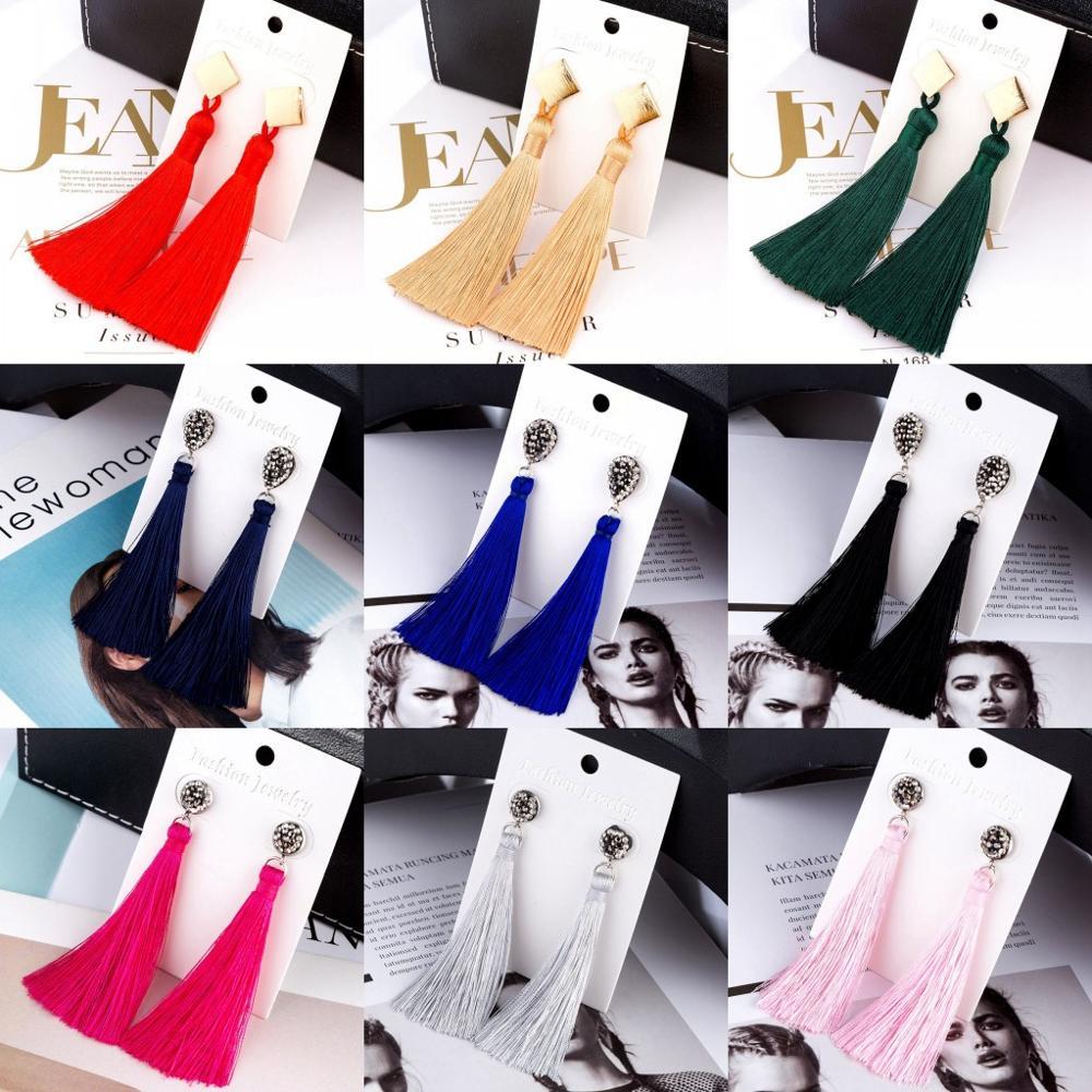 Pendientes largos de cristal de borla bohemia de moda HOCOLE, pendientes de borlas de tela de seda roja blanca para mujer, joyería 2019
