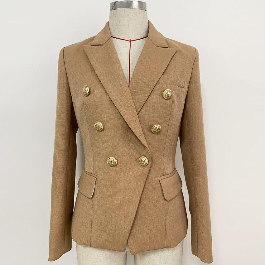 New Fashion Designer Blazer Women's Lion Buttons Double Breasted Pique Blazer Jacket Brown