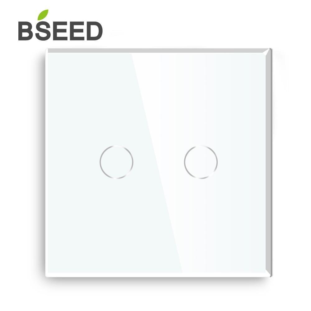 Bseed اللمس التبديل 2 عصابة 1Way 2Way الجدار التبديل الاتحاد الأوروبي القياسية الفاخرة لوحة زجاج مسة خفيفة التبديل أسود أبيض الذهبي مفاتيح