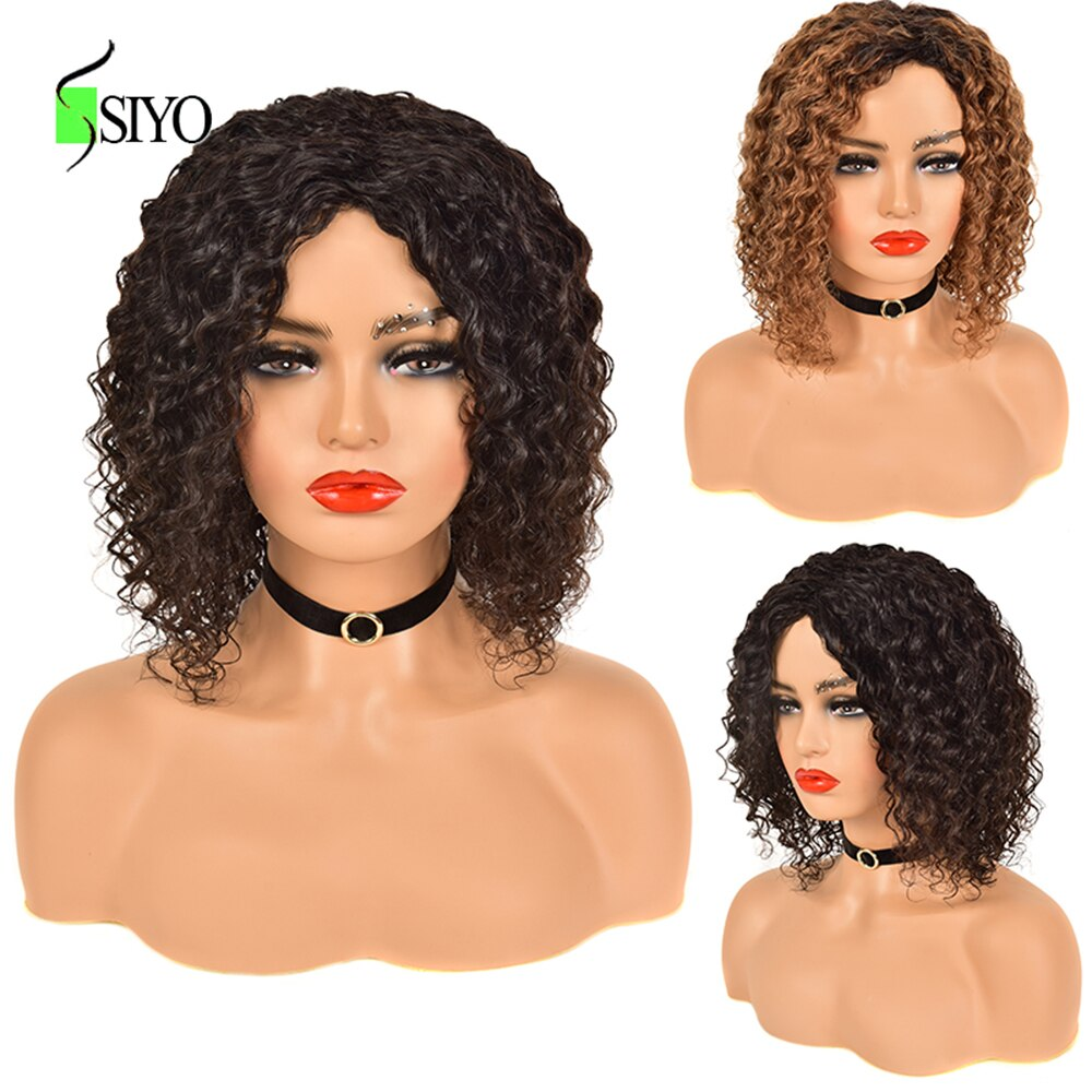 Siyo brasileiro remy perucas de cabelo humano encaracolado profundo curto encaracolado bob peruca para preto feminino ombre cor 1b/30 cabelo humano peruca cheia