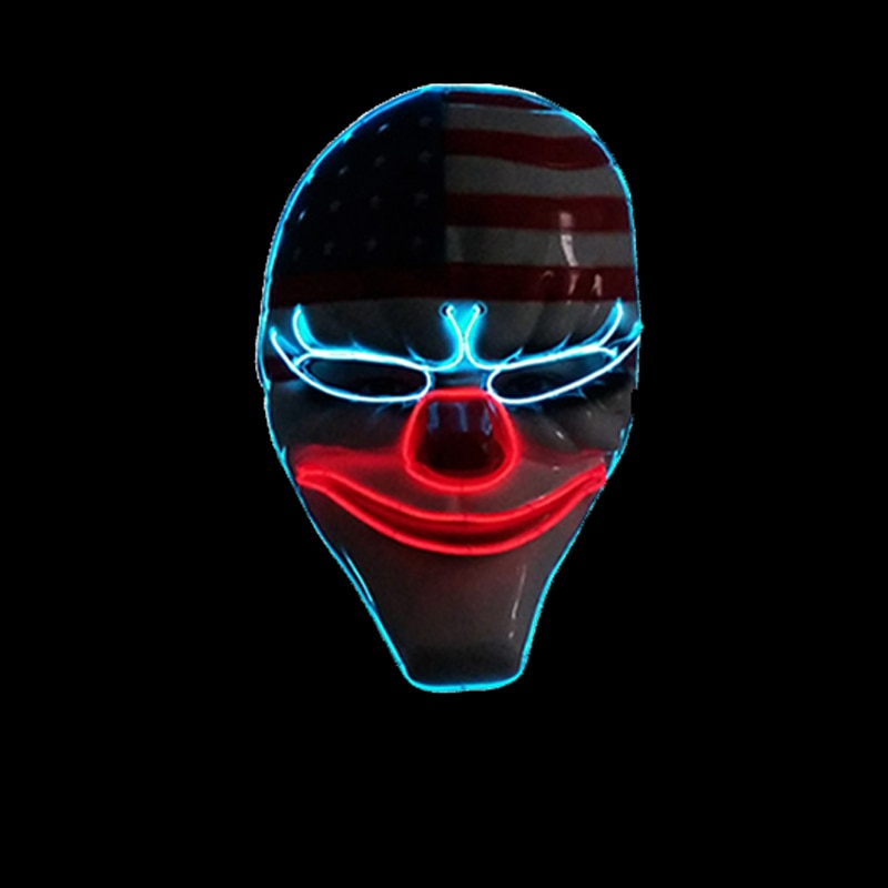 Halloween Glowing EL Wire Mask American Style Horror Clown Mask For Party Supplies