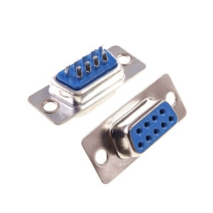 100Pcs D-SUB 9 Position Connector DB9 Receptacle Female Solder Wire Type Adapter Series Port 9 Pin Tin Plate Solder Cup