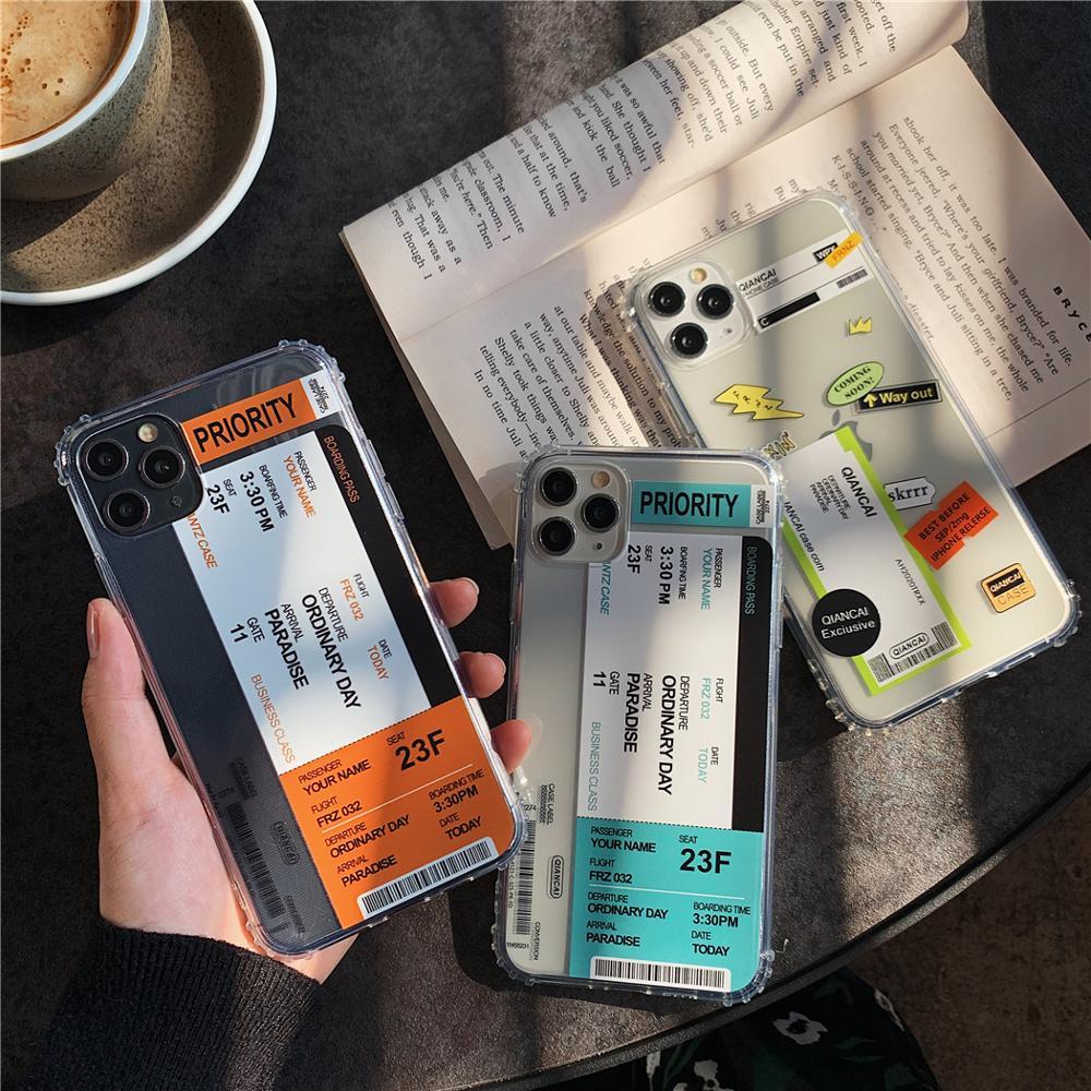 A prueba de golpes a prueba gracioso aire entradas Etiqueta de código de barras de la caja del teléfono para iPhone XR X 10 7 8 Plus XS 11 Pro MAX transparente funda trasera suave TPU