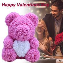 ¡Oferta! jabón Rosa Artificial de 35cm oso de peluche con corazón para San Valentín cumpleaños fiesta boda decoración regalo hecho a mano triangulación de envío