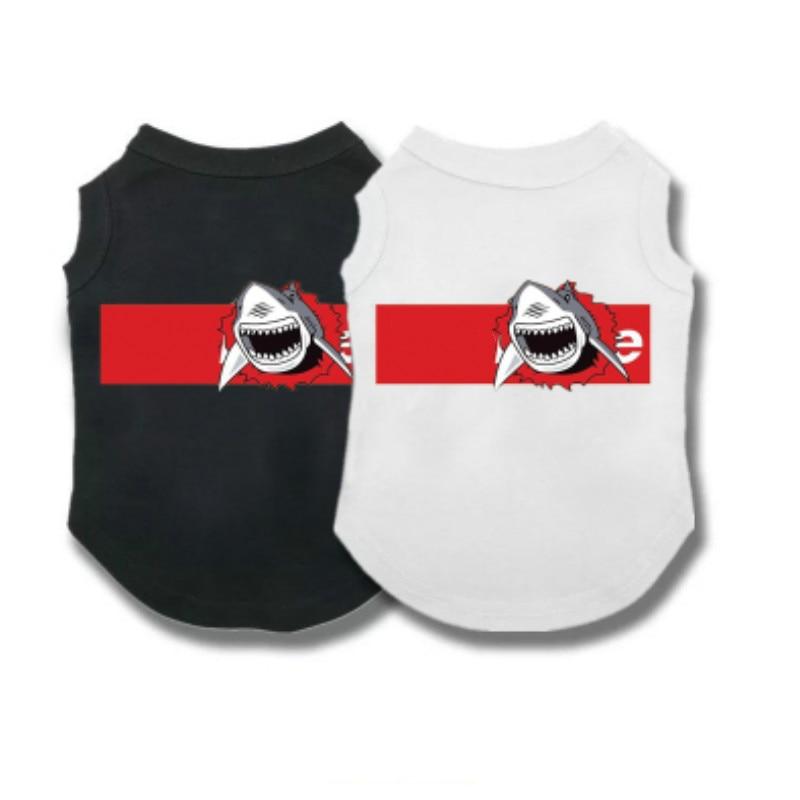 Nueva ropa para mascotas con estampado de tiburón blanco primavera y verano chaleco fino de manga corta Camiseta transpirable cómoda ropa para perros XXXL