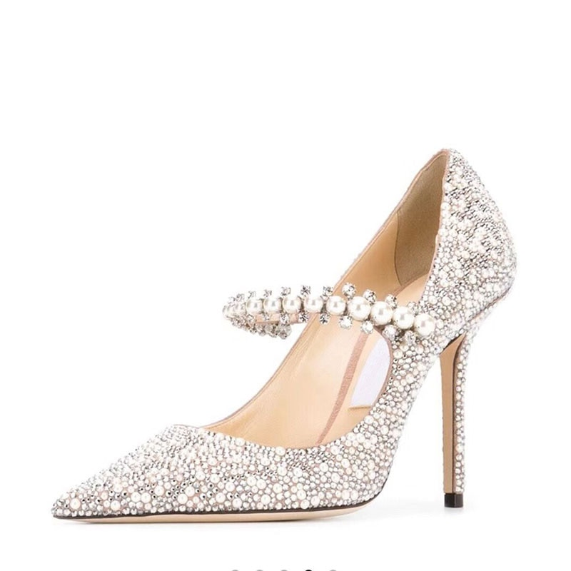 Crystal Women Wedding Pumps One Strap Pointed Toe Famous Shoes Ladies Elegant Spring Summer Stiletto Heels Pumps Bride Balanced