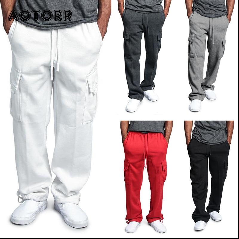 Straight Cotton Solid Color Men Loose Sweatpants Full Length Casual Pants Comfortable Sports Elastic Waist Jogging Trousers 5XL