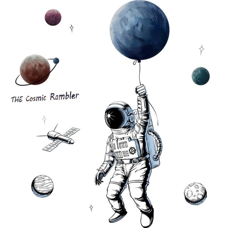 Pegatinas de pared de astronauta espacial, pegatinas de papel de cartel de Planeta, papel tapiz de decoración para habitación de niños, autoadhesivo