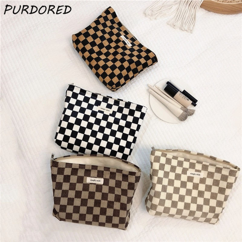 PURDORED 1 Pc Classic Plaid Cosmetic Bag for Women Large Makeup Bag Travel Beauty Case Storage Organ