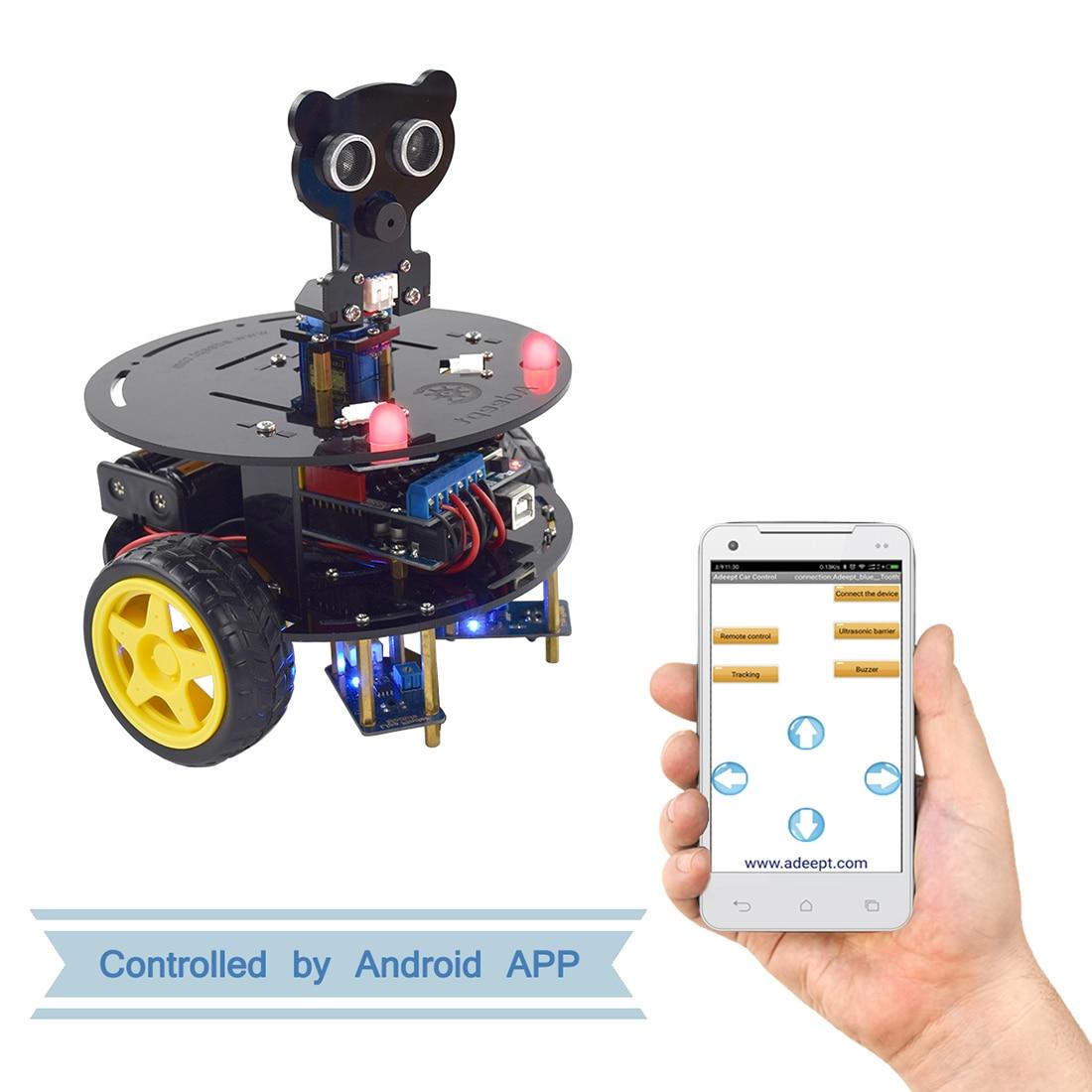 Adeept 3WD Bluetooth inteligente Robot Kit de coche madre Arduino Starter Kit de aprendizaje para Arduino UNO R3 (con placa de desarrollo)