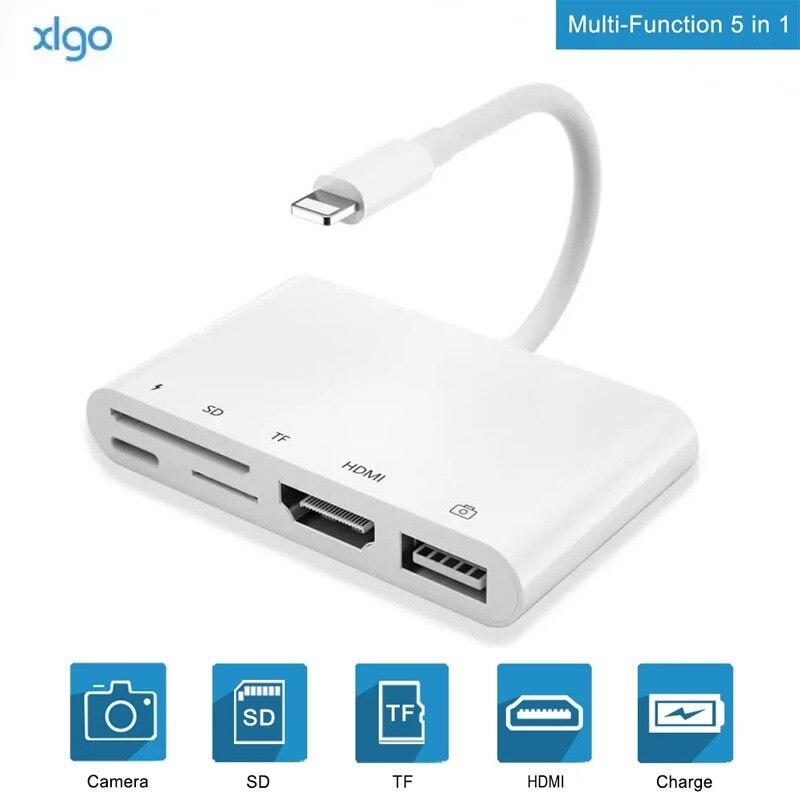 البرق إلى HDMI محول USB SD TF قارئ بطاقة الرقمية AV TV 1080P OTG كابل محور ل آيفون X XR XS 11Pro ماكس SE باد Mini Pro