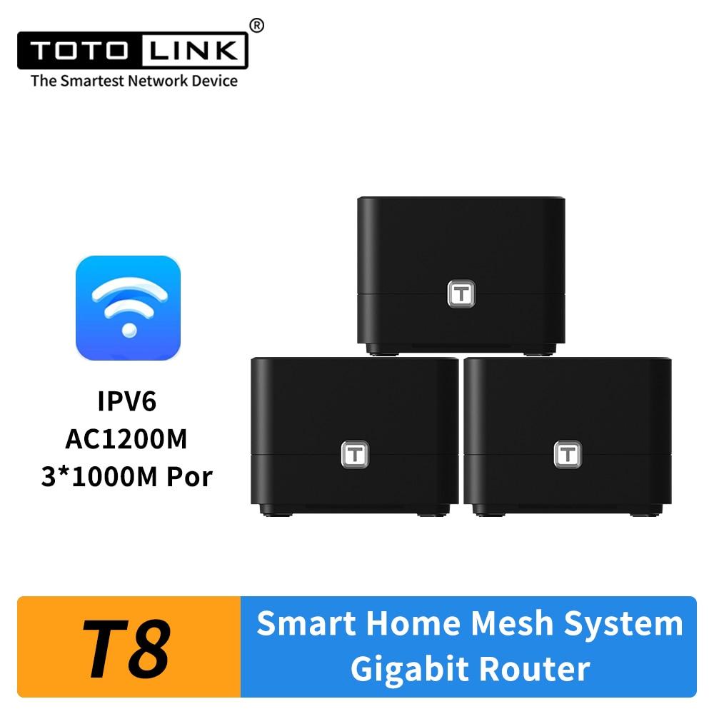 TOTOLINK T8 AC1200 شبكة واي فاي جيجابت راوتر 3 حزمة مكرر لاسلكي التطبيق عن بعد إدارة
