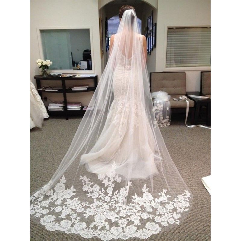 Velo de novia de una capa ultradelgado para mujer velo de novia romántico encaje floral bordado apliques Patchwork Catedral