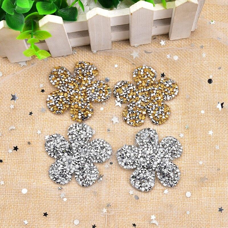 20 Uds 5cm apliques de diamantes de imitación con forma de flor con parte posterior plana Strass cristales de fijación caliente hechos a mano para zapatos de vestir de boda sombreros Decoración
