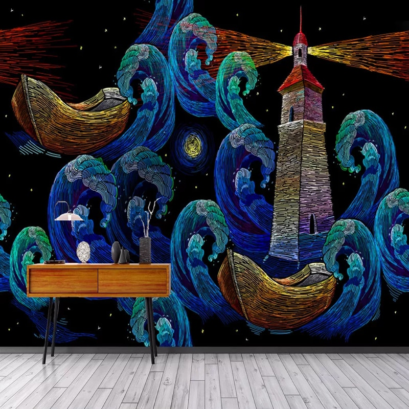 Papel pintado de foto estilo europeo Retro línea de dibujos animados velero barco faro Arte Abstracto murales niños dormitorio impermeable 3D pegatina